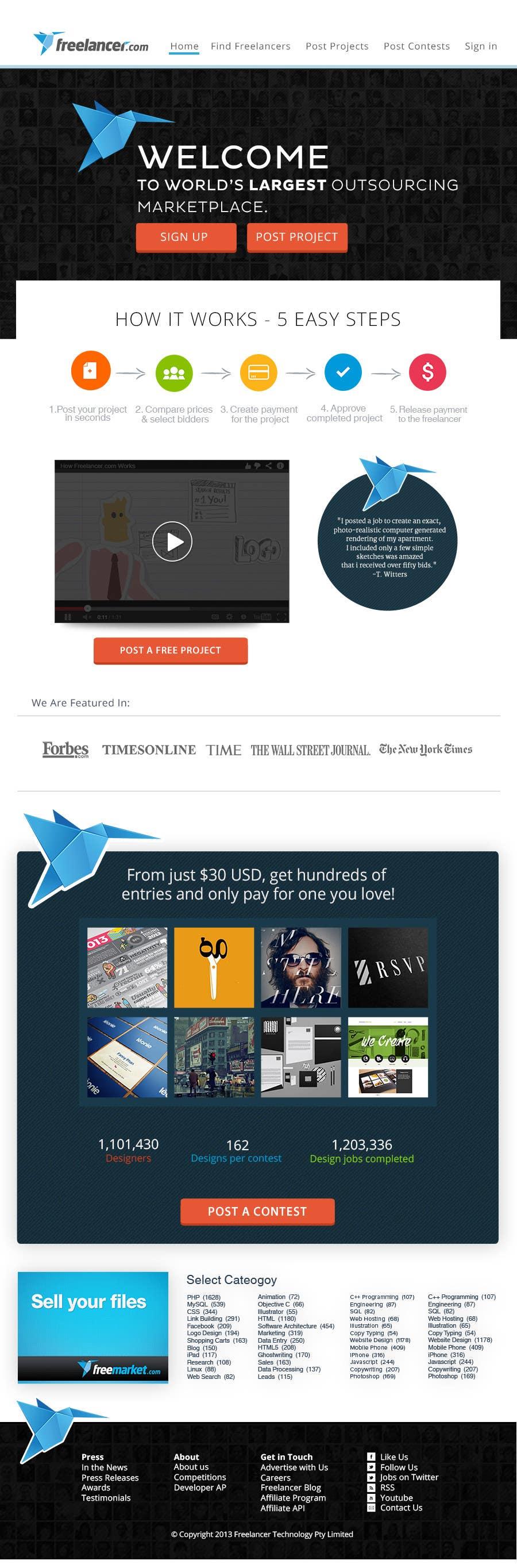 Contest Entry #348 for Freelancer.com contest! Design our Homepage!