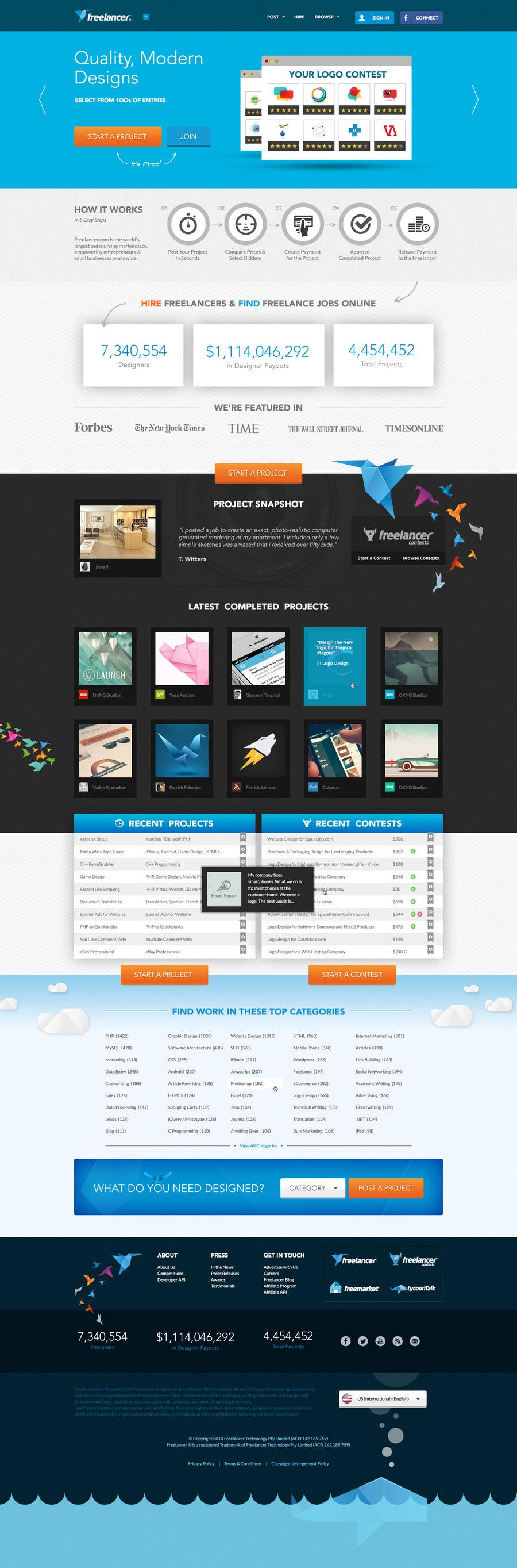 #612 for Freelancer.com contest! Design our Homepage! by MadebyPat