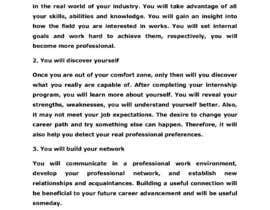 #50 для Content Articles - Importance of Internships on your career от ferozuddin1