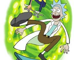"""#6 for I need a skateboard scene re draw a as if it was from Rick and morty   Some example reference images attached. And an example of a completed image  Image needs to be on a canvas that is 9x33"""" at 300dpi  Images not in that format will be rejected by berragzakariae"""