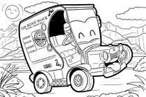 "Graphic Design Intrarea #35 pentru concursul ""Illistrate a cartoon version of our promo car - Kids Colouring in Competition"""