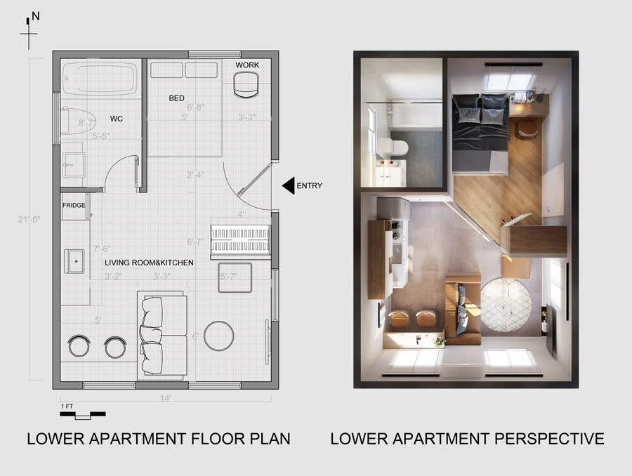 Entry 104 By Ninhquang For Design Room Layout For Two 300 Sq Ft Studio Apartments Freelancer
