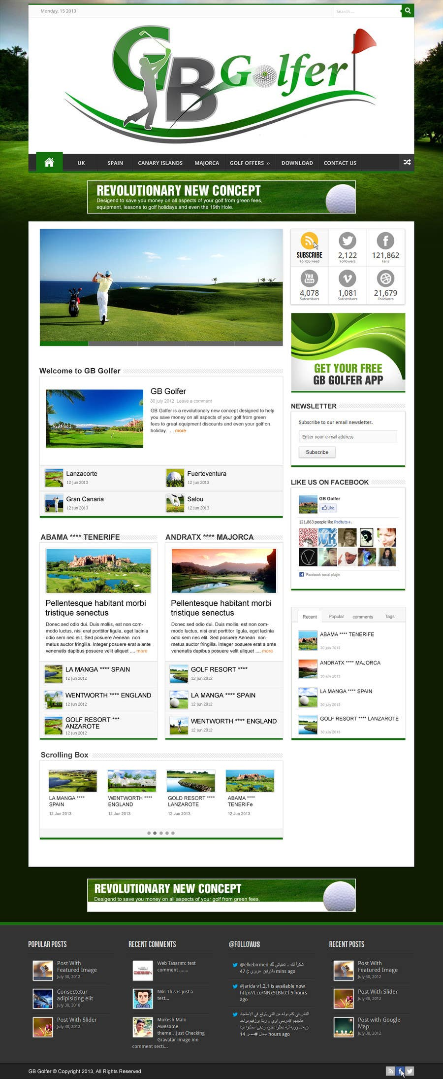 Contest Entry #                                        7                                      for                                         Wordpress Theme Design for GB Golfer