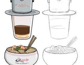 nº 2 pour 2 QUICK ILLUSTRATIONS: Cartoon Vietnamese Iced Coffee & Vietnamese Pho Bowl par gumelarkrisna1