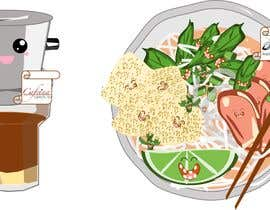 nº 20 pour 2 QUICK ILLUSTRATIONS: Cartoon Vietnamese Iced Coffee & Vietnamese Pho Bowl par romeodiazjr02