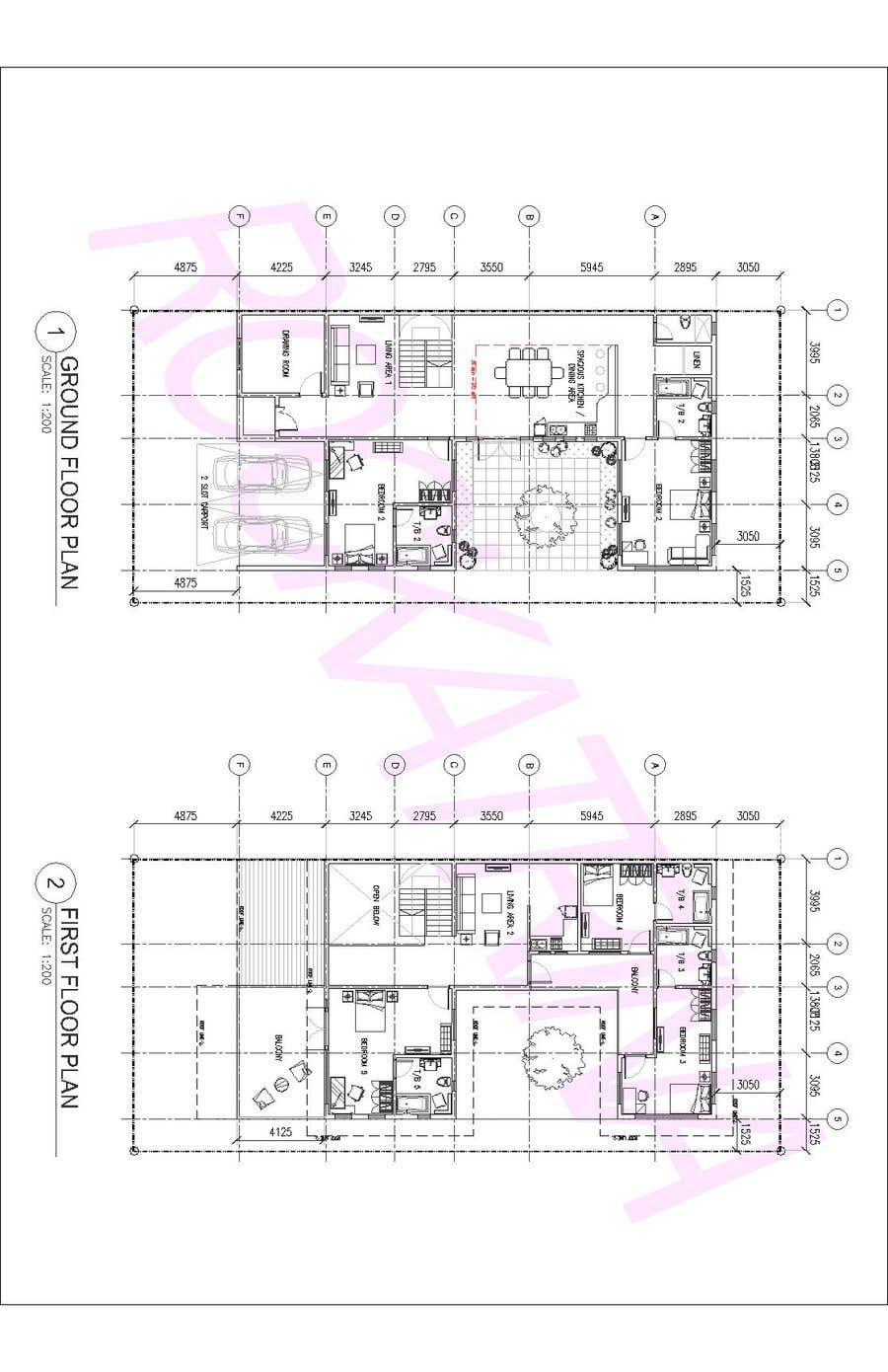 Proposition n°                                        44                                      du concours                                         Build me 2D Floor Plan for 2 Floor house!