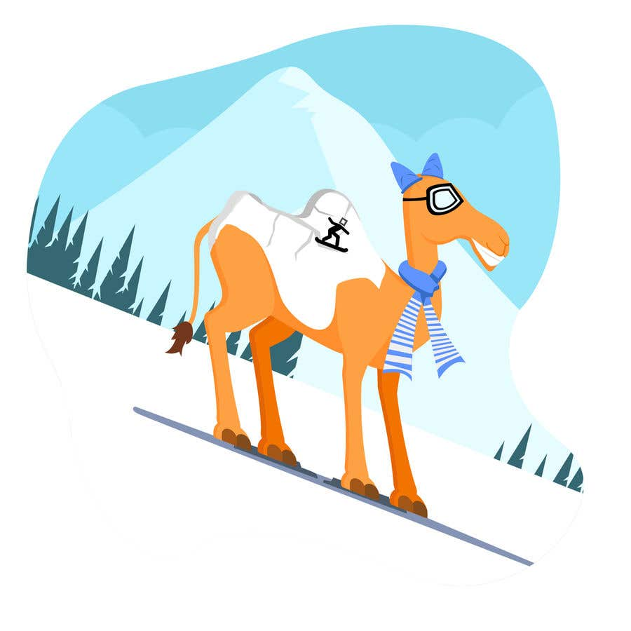 Contest Entry #                                        6                                      for                                         Design for Hoodie (Snowboarding Camel with mountains as humps)