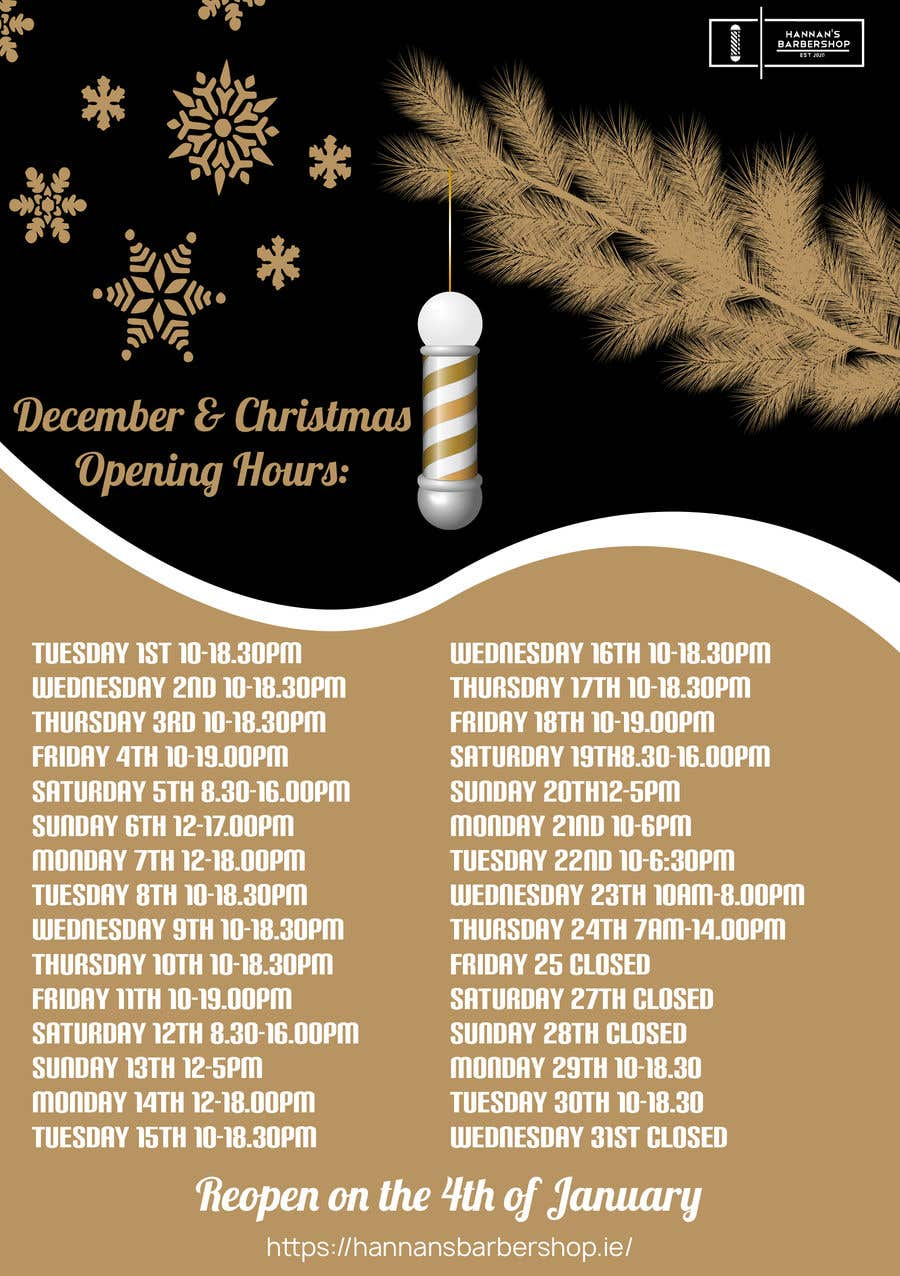 Contest Entry #                                        3                                      for                                         Christmas Opening Hours Graphic Barbershop Business