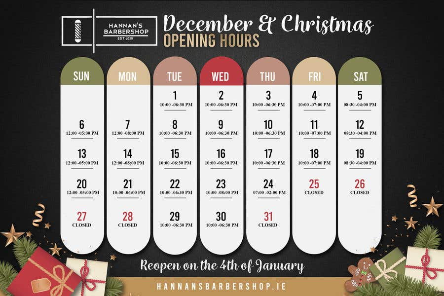 Contest Entry #                                        13                                      for                                         Christmas Opening Hours Graphic Barbershop Business