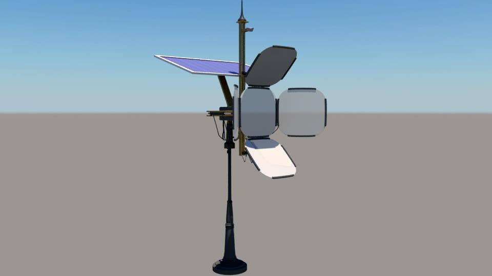 Contest Entry #                                        8                                      for                                         Do some 3D Modelling for a solar reflector with 4 panels