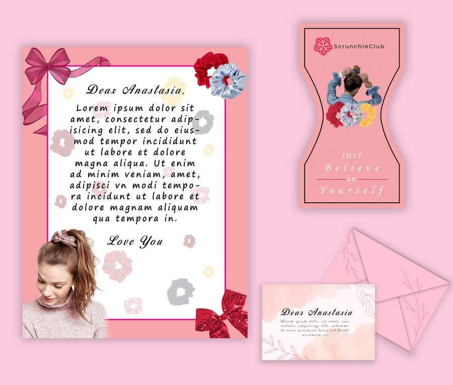 Contest Entry #                                        34                                      for                                         Letter Template & Hair Scrunchie Packaging