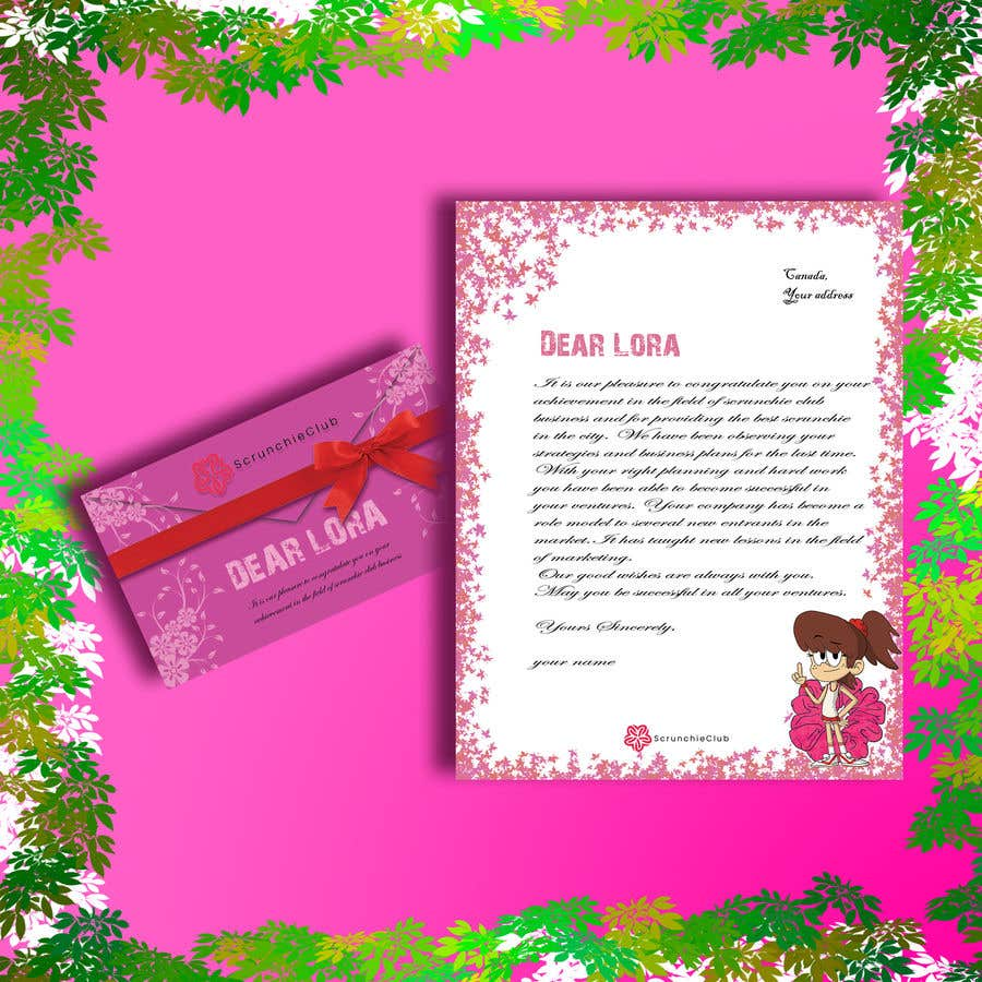 Contest Entry #                                        8                                      for                                         Letter Template & Hair Scrunchie Packaging