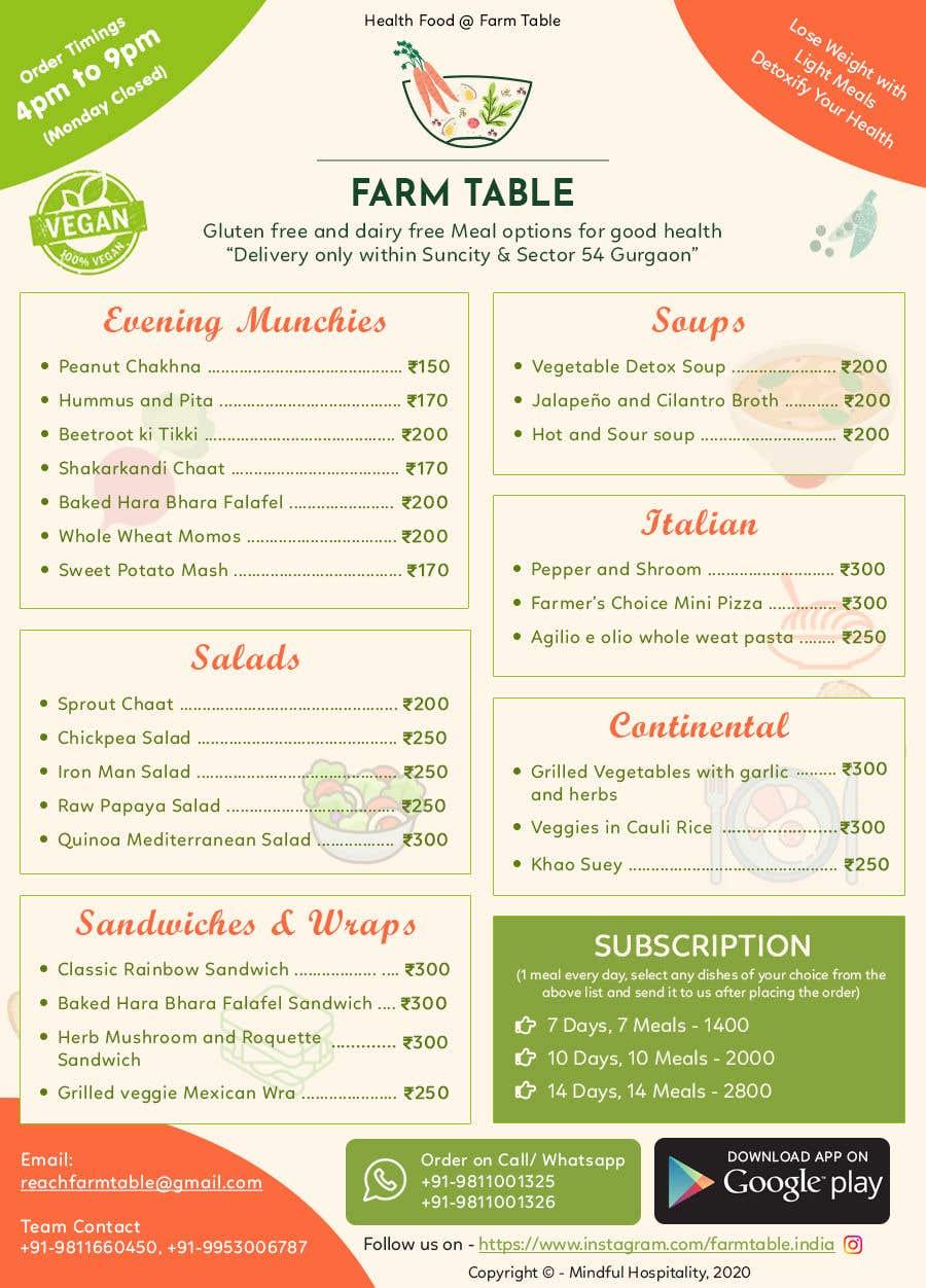 Kilpailutyö #                                        31                                      kilpailussa                                         Design a Health Food Menu Card for Farmtable Restaurant