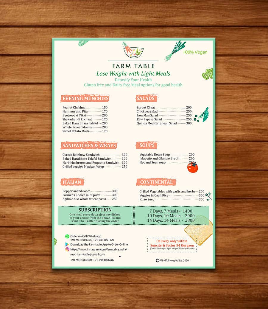 Kilpailutyö #                                        35                                      kilpailussa                                         Design a Health Food Menu Card for Farmtable Restaurant