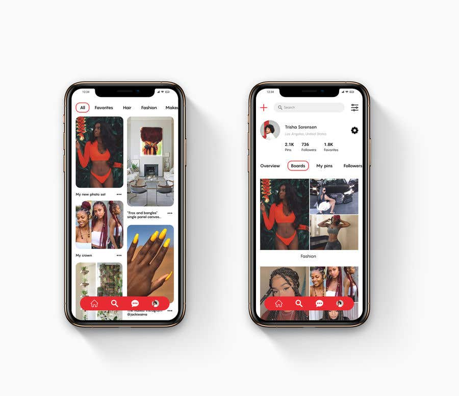 Contest Entry #                                        18                                      for                                         Redesign Pinterest UI/UX Homepage/Profile page