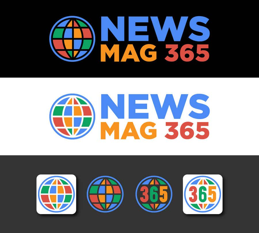Penyertaan Peraduan #                                        34                                      untuk                                         Urgently required very sleek and eligent designed logo and favicon for my website which is based on online news => website brand name is News Mag 365 so i am looking for logo and favicon for it in 3 colors
