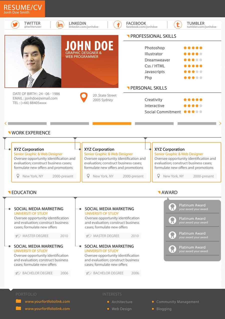 #15 for Premium Quality Resume Design (PSD) - I'LL SELECT MULTIPLE WINNERS! by yugi1986