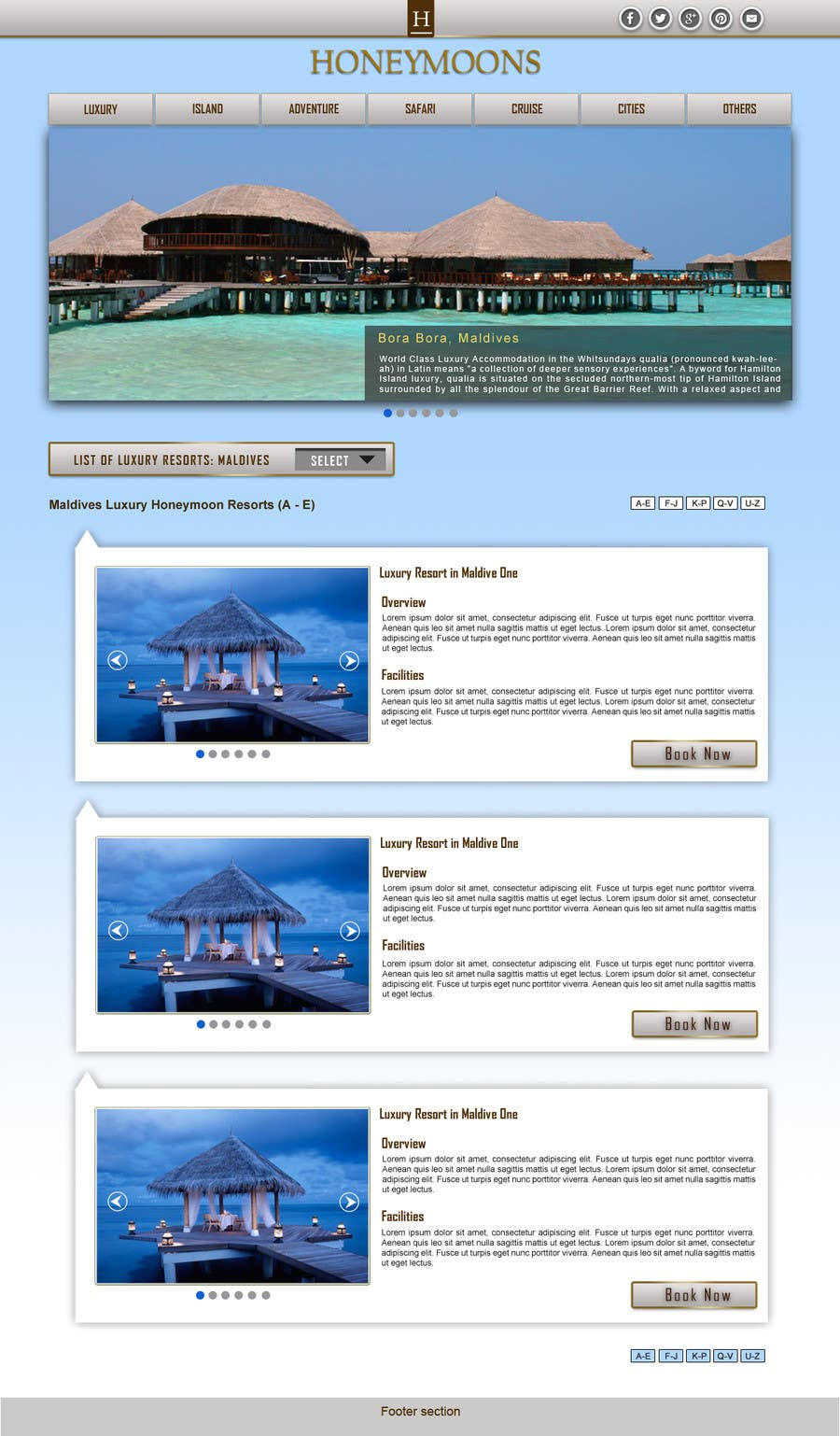 Penyertaan Peraduan #                                        38                                      untuk                                         Website Design for Honeymoons website