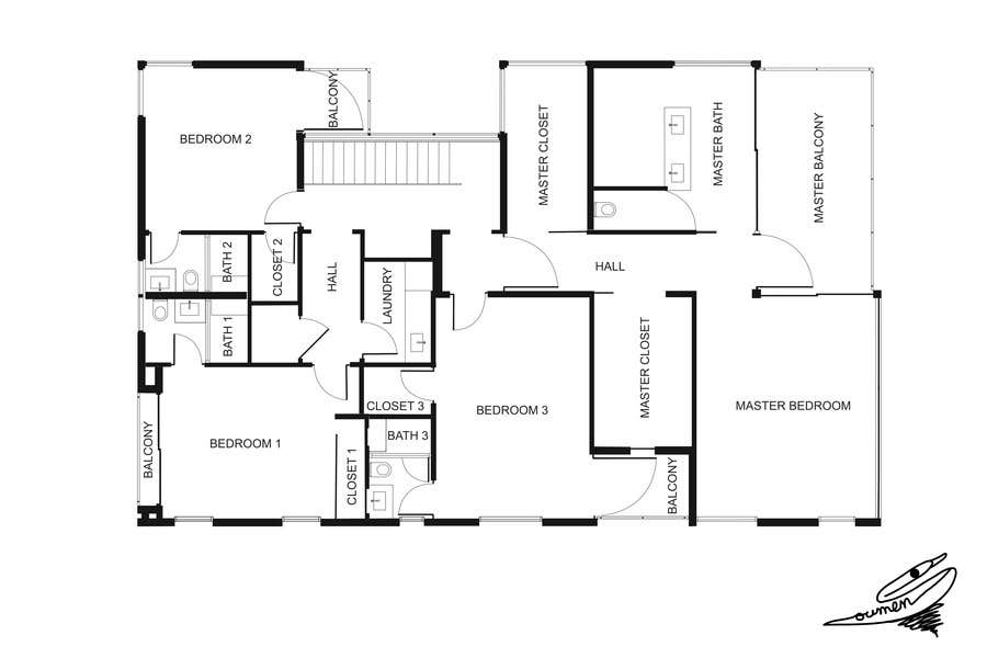 Konkurrenceindlæg #                                        8                                      for                                         Redraw two floor plans - first of many projects.