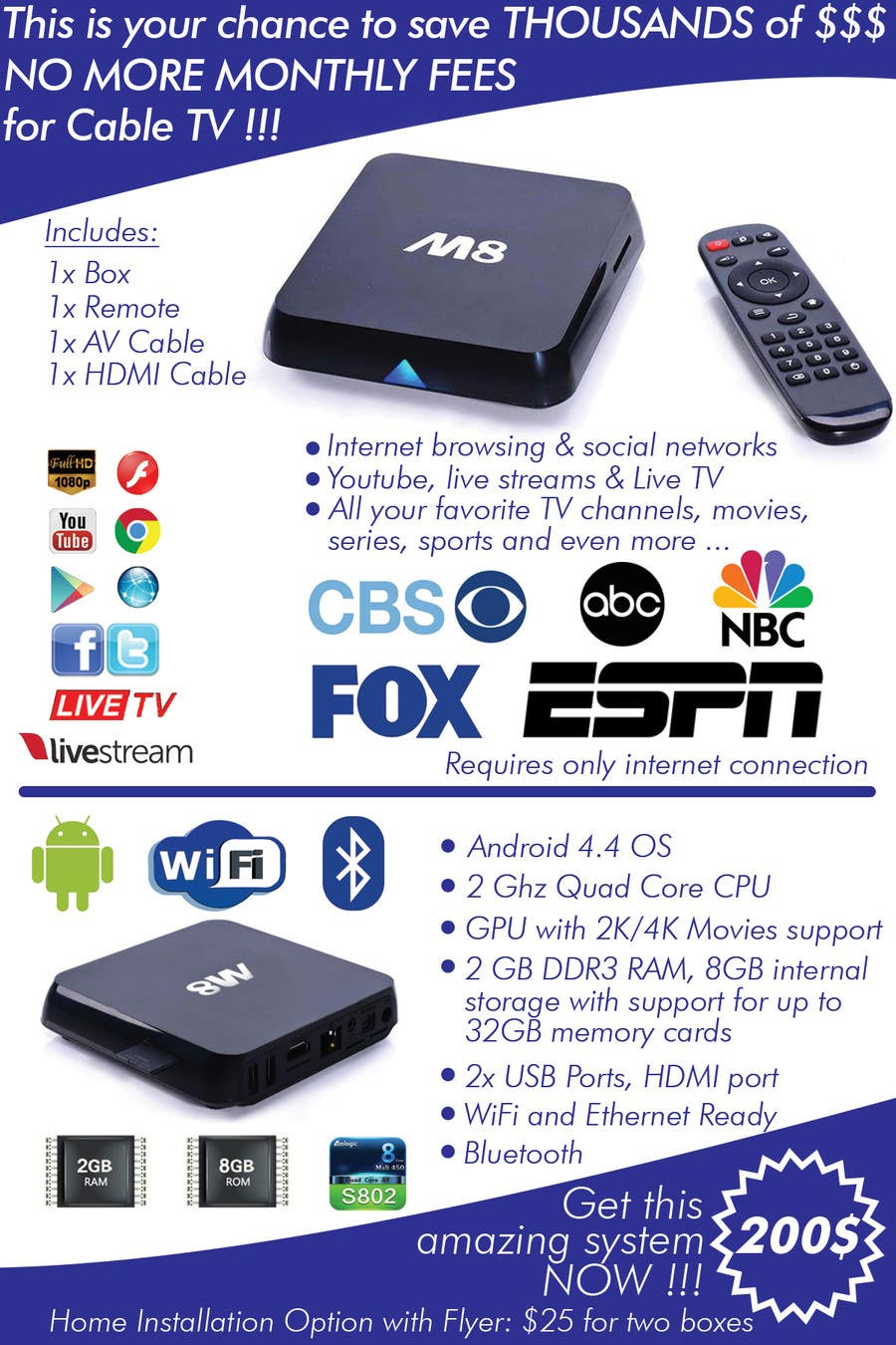 """Konkurrenceindlæg #                                        7                                      for                                         Design a simple 4"""" x 6"""" Flyer for Android TV Boxes"""