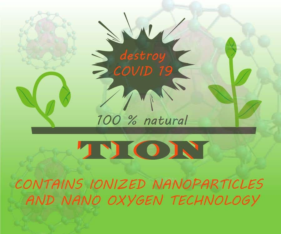Proposition n°                                        14                                      du concours                                         Label  design with illustration for a disinfectant with nanoparticles