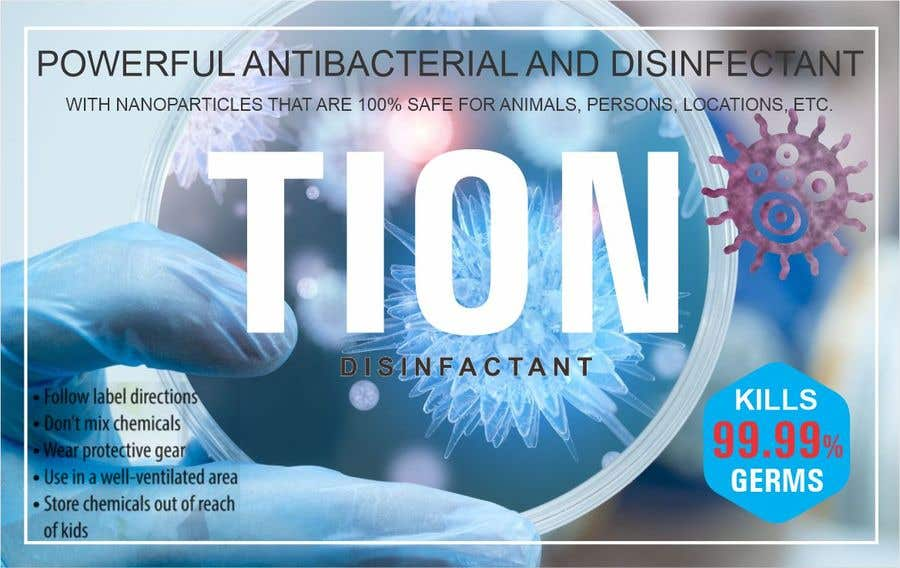 Proposition n°                                        2                                      du concours                                         Label  design with illustration for a disinfectant with nanoparticles