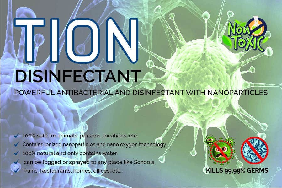 Proposition n°                                        25                                      du concours                                         Label  design with illustration for a disinfectant with nanoparticles