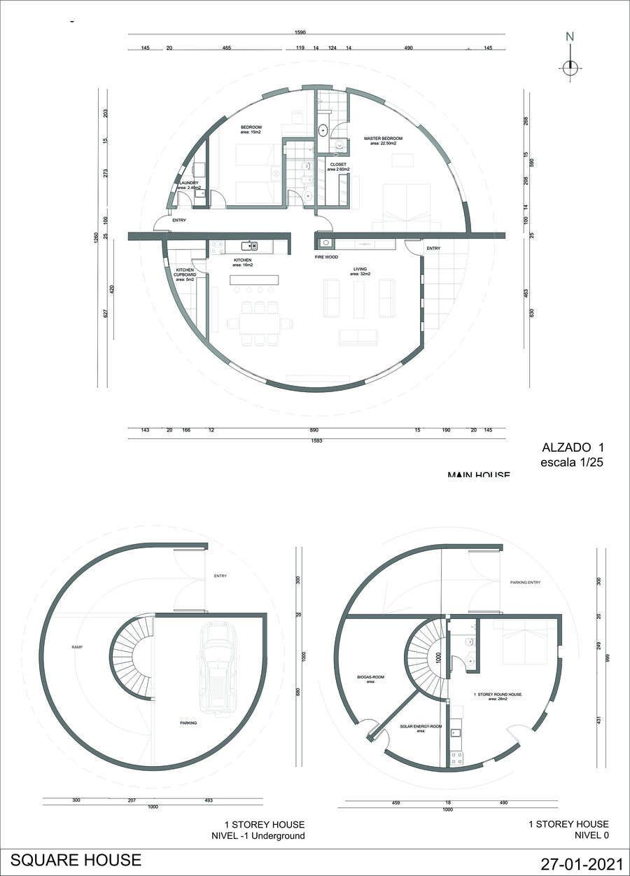 Wettbewerbs Eintrag #                                        6                                      für                                         Architect's Design for a 2-bedroom Round, Grass Thatched House
