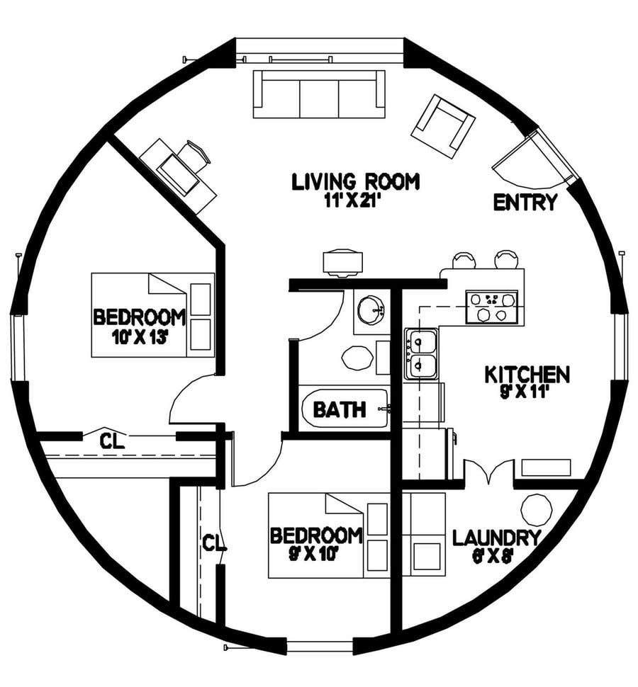 Wettbewerbs Eintrag #                                        4                                      für                                         Architect's Design for a 2-bedroom Round, Grass Thatched House
