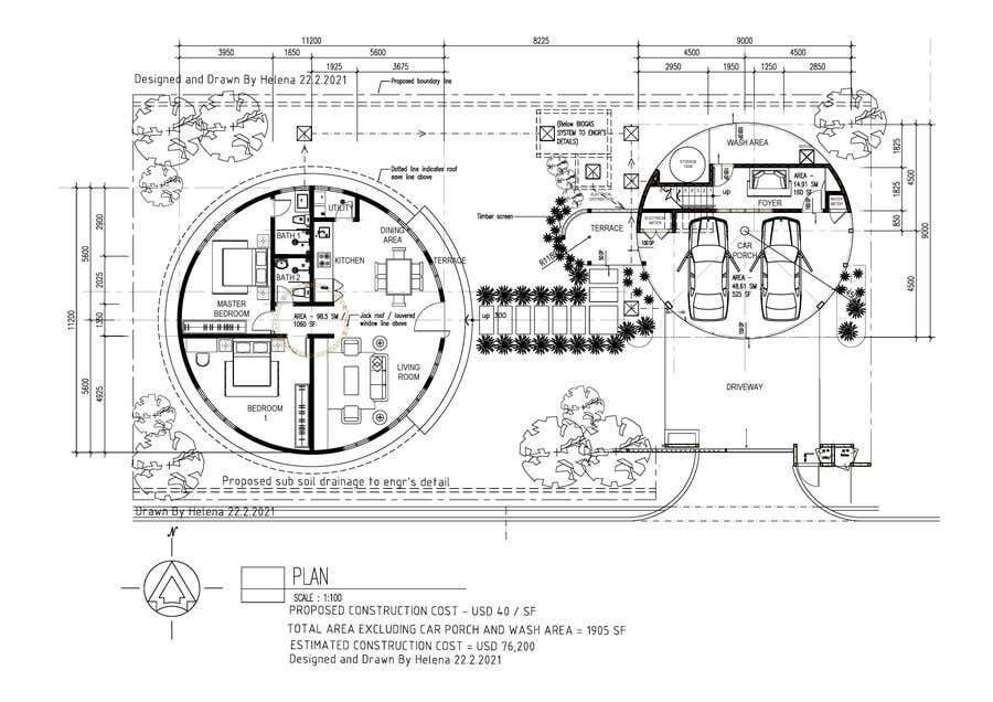 Wettbewerbs Eintrag #                                        11                                      für                                         Architect's Design for a 2-bedroom Round, Grass Thatched House