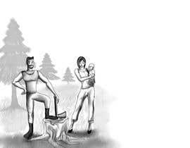 Nro 5 kilpailuun Family at wood splitting line drawing käyttäjältä kasunmiuranga