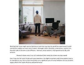 """Nro 27 kilpailuun Article on """"Social isolation due to remote working"""" käyttäjältä ameeraj474"""