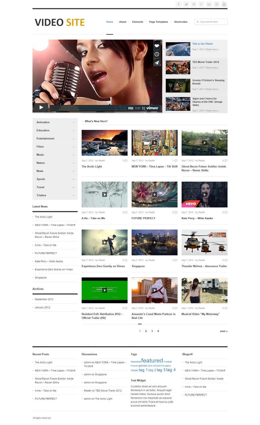 Inscrição nº 3 do Concurso para design for video site