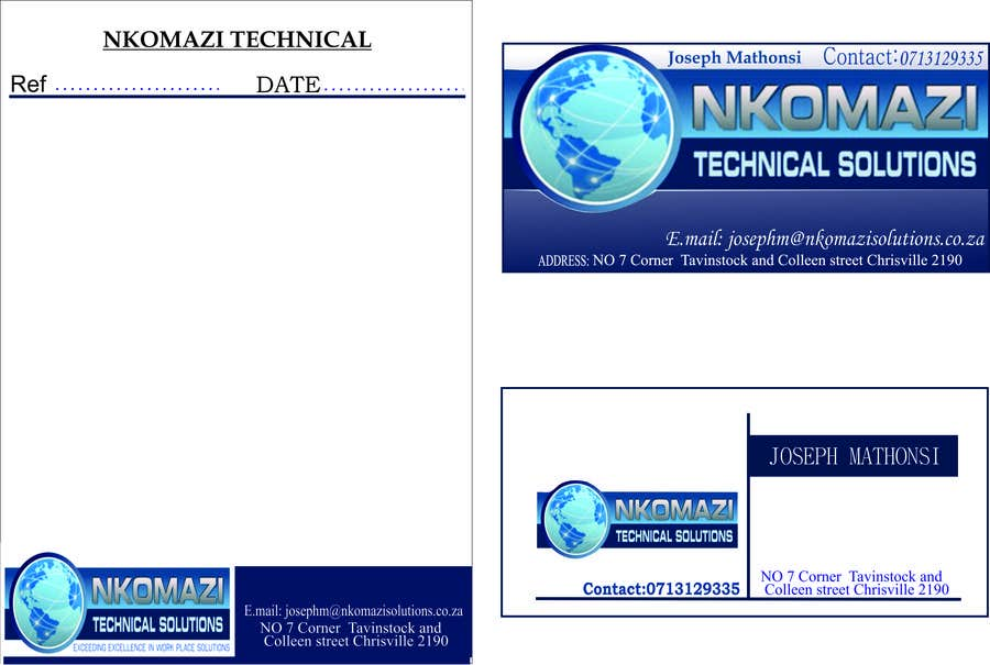 Konkurrenceindlæg #                                        3                                      for                                         Design Letterhead and Business Card for a technical solutions company