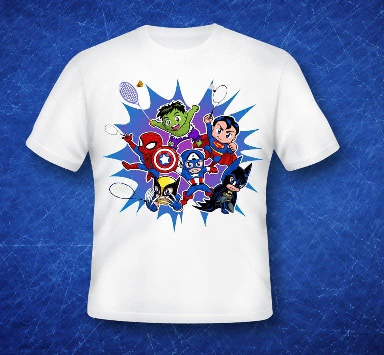 Proposition n°                                        13                                      du concours                                         Design a T-Shirt for Parody Avengers, Badminton, Chibi style