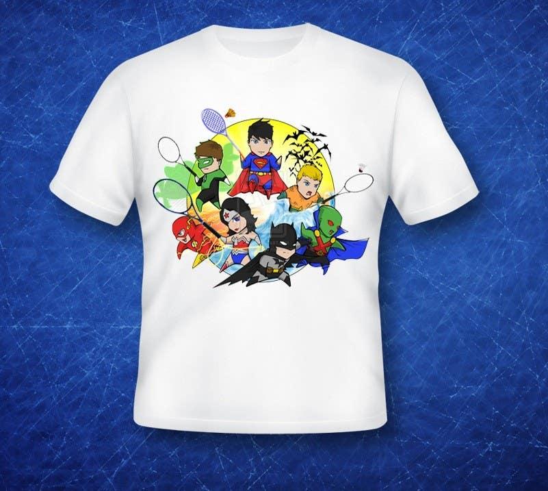 Proposition n°                                        14                                      du concours                                         Design a T-Shirt for Parody Avengers, Badminton, Chibi style