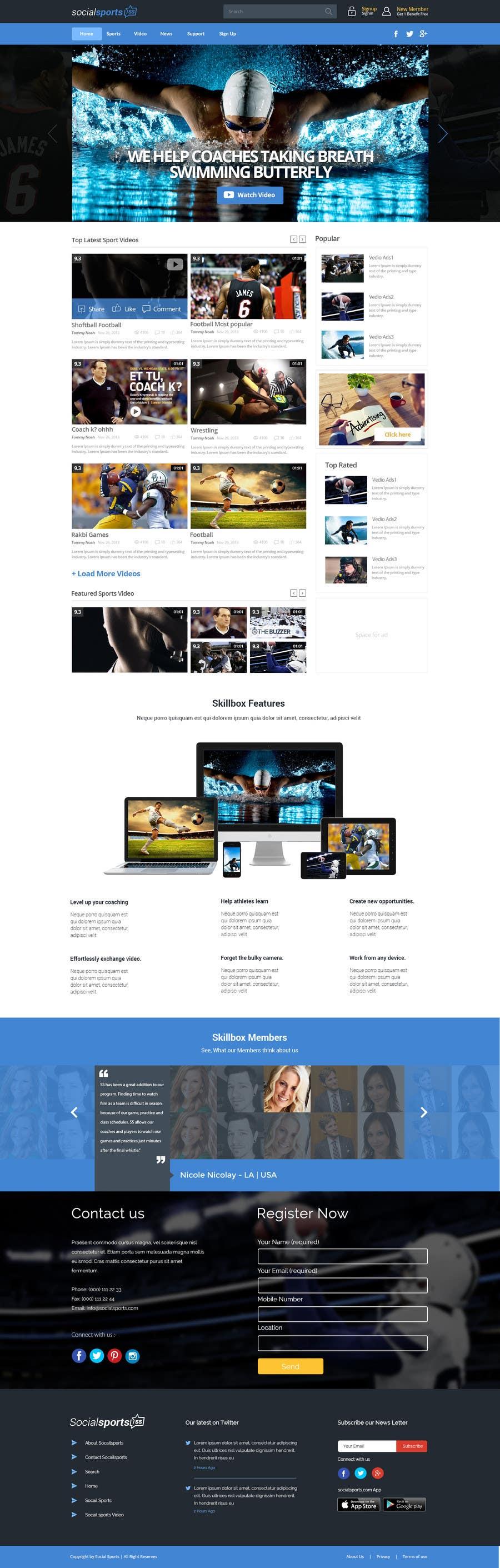 Konkurrenceindlæg #                                        13                                      for                                         Design a Website for Sports Skills Video Uploading Site