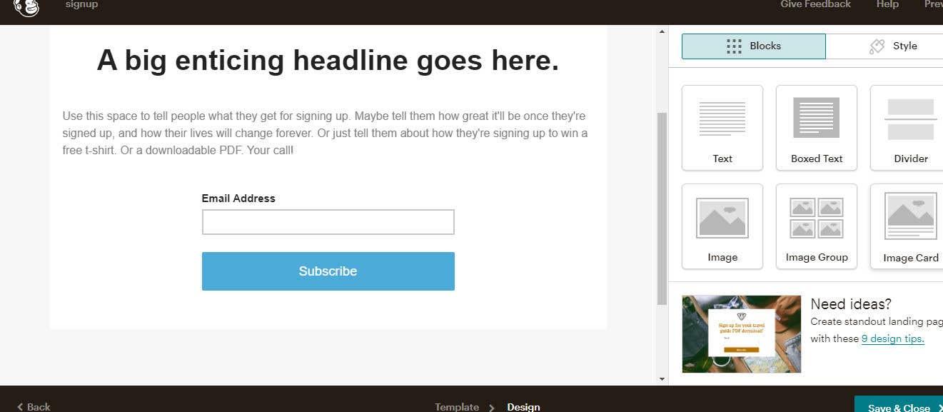 Penyertaan Peraduan #                                        14                                      untuk                                         Build me a mail chimp opt in landing page