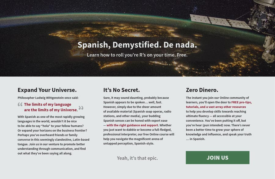 Contest Entry #                                        14                                      for                                         Online Spanish Course - Landing Page