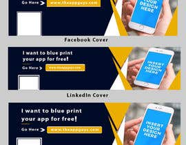 """#30 untuk A banner for my profiles that says """"I want to blueprint your app for free!"""". Make it interesting and clean. The final files must be sized for Facebook, LinkedIn and Twitter. Also include the company web address: theappguys.come oleh khatunfahima46"""