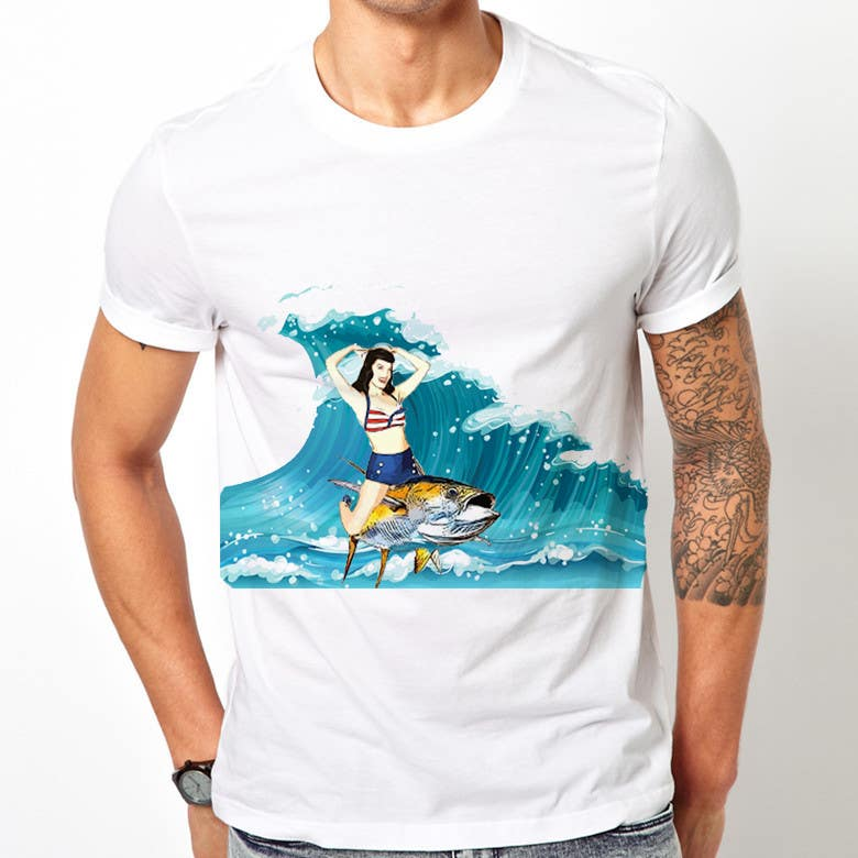 Contest Entry #7 for Design a retro 1950's pinup girl style spearfishing shirt