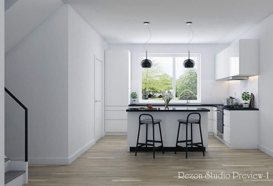 Proposition n°                                        25                                      du concours                                         3D rendering kitchen, bathroom.