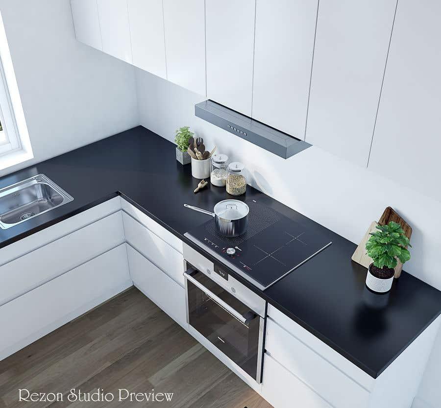 Proposition n°                                        55                                      du concours                                         3D rendering kitchen, bathroom.