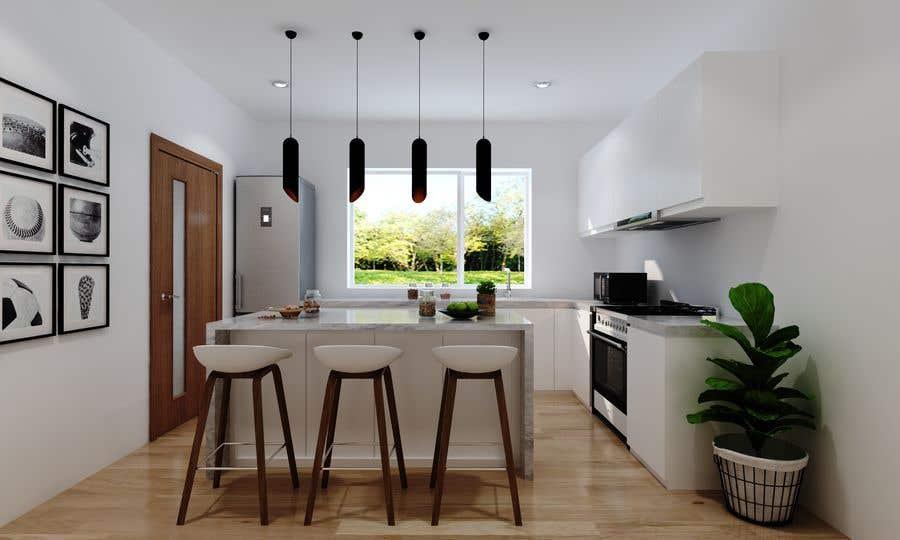 Proposition n°                                        1                                      du concours                                         3D rendering kitchen, bathroom.