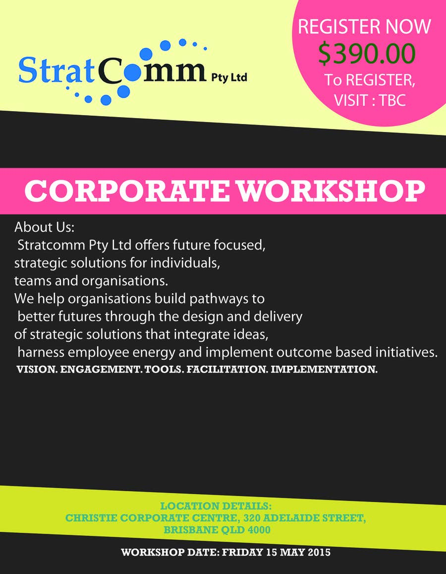 Bài tham dự cuộc thi #3 cho Design a corporate workshop flyer
