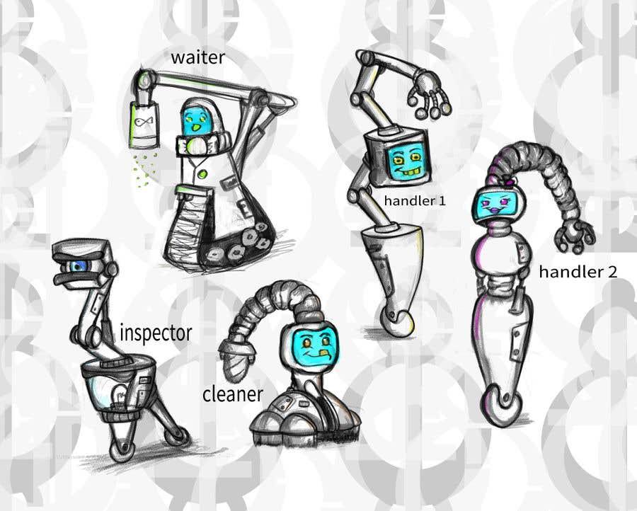 Penyertaan Peraduan #                                        44                                      untuk                                         Draw us 5 goofy robots