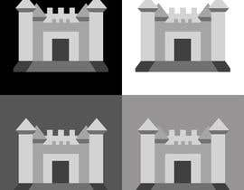 #9 untuk Design a gray scale flat icon illustration of a bouncy castle. oleh subhammittal95