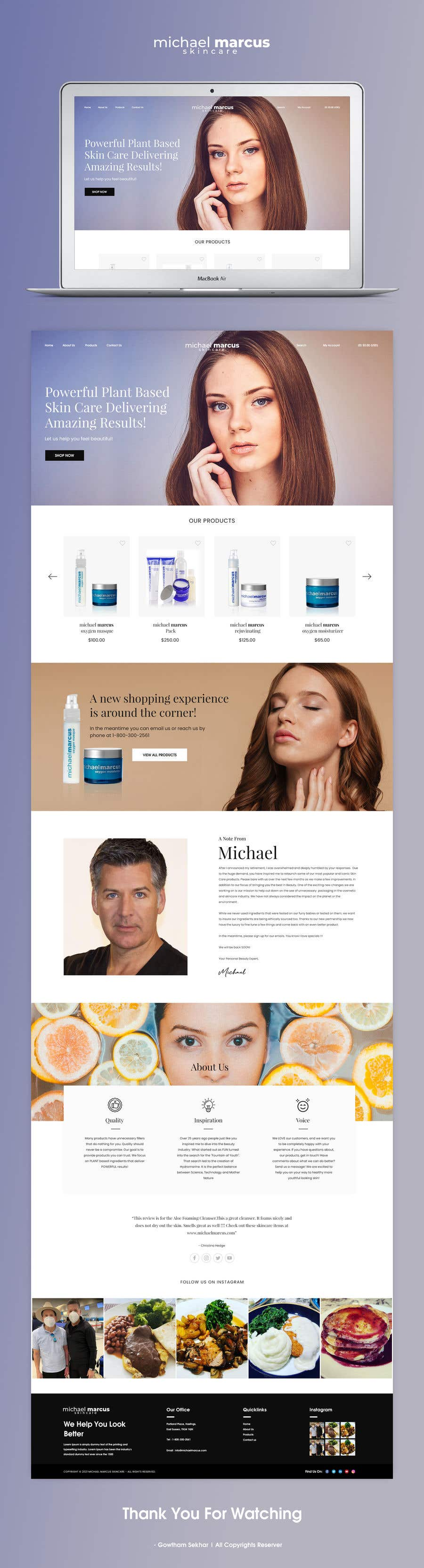 Contest Entry #                                        74                                      for                                         Michael Marcus Cosmetic rebrand and launch via shoppify