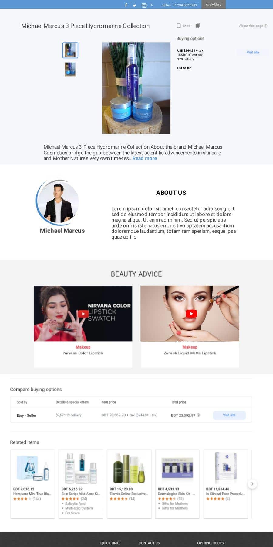 Contest Entry #                                        68                                      for                                         Michael Marcus Cosmetic rebrand and launch via shoppify
