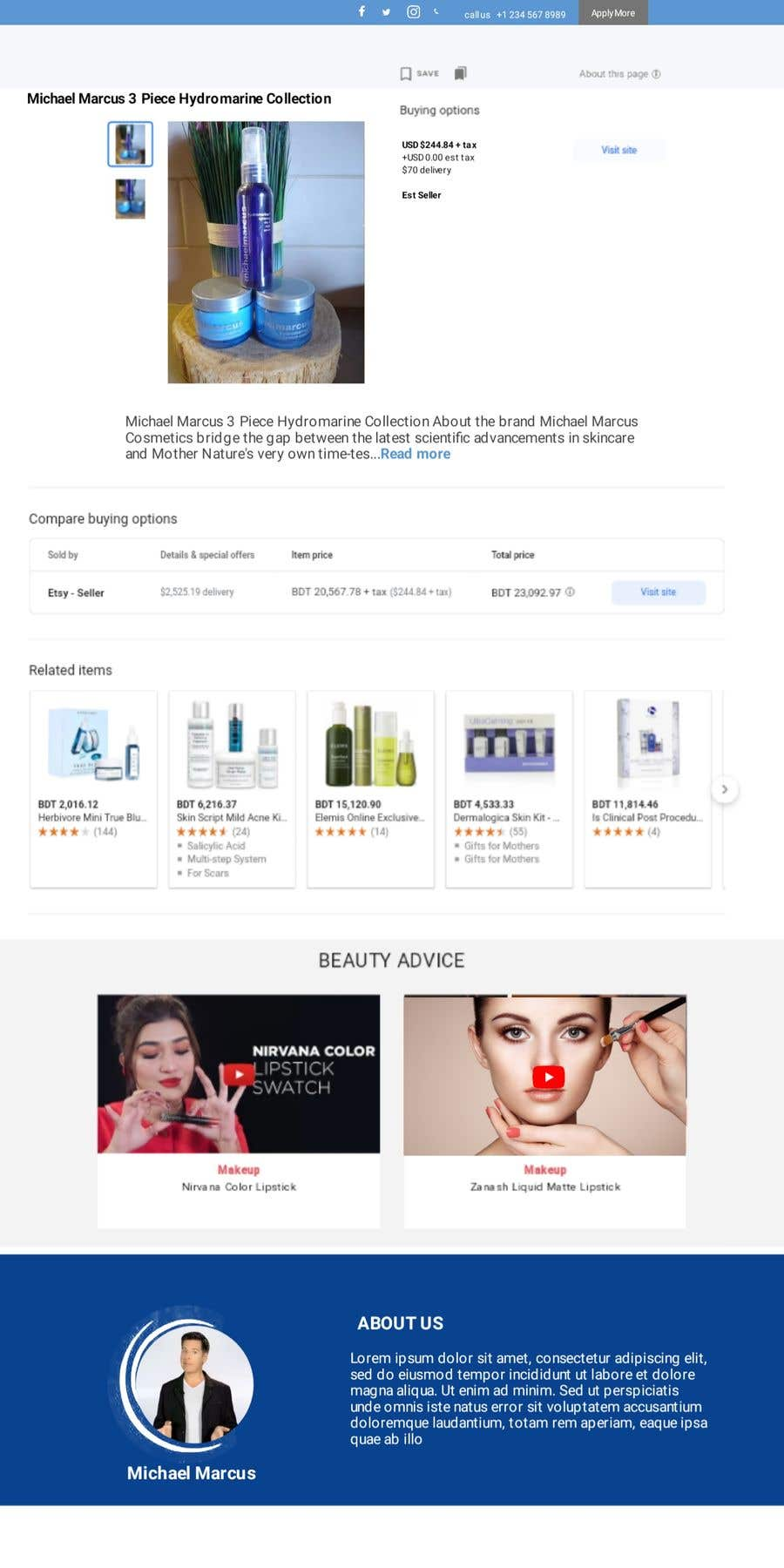 Contest Entry #                                        85                                      for                                         Michael Marcus Cosmetic rebrand and launch via shoppify